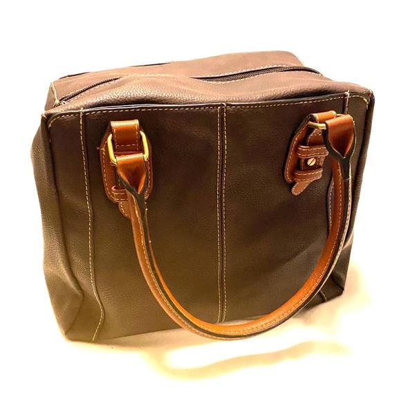 Handbags - Brown two tone bowling bag purse